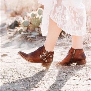 FRYE Brown Ray Western Shootie Ankle Boot